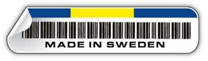 MADE IN SWEDEN barcode sticker volvo saab