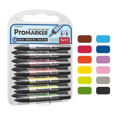 Letraset Promarker Pen 12 Pen + Blender - Set 1