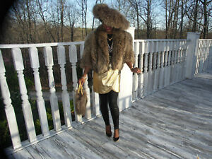Unique-crop-Finnish-Tanuki-Raccoon-Fur-Coat-brim-hat-M
