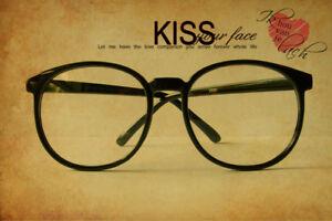Black-Round-Vintage-Retro-Geek-Nerd-Clear-Lens-fashion-Glasses-fancy-thin-frames