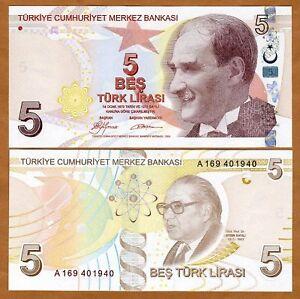Turkey-5-Lira-L-1970-2009-P-222-UNC