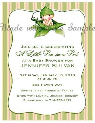 Cute Girl Or Boy Pea In A Pod Baby Shower Invitations