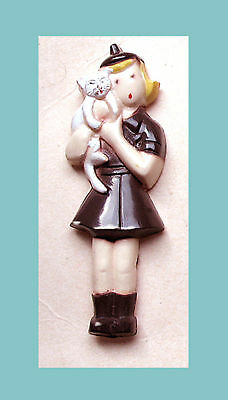 1950s Plastic Brownie Girl Scout FIGURAL PIN Kitten Cat Brooch Unique GIFT