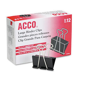 """ACCO Large Binder Clips, Steel Wire,1 1/16"""" Capacity, 2""""w, B"""