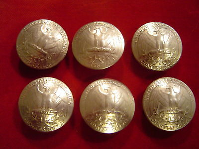 Conchos: Washington Quarter (eagle Side) 6 Real Coin 90% Silver, Post & Screw