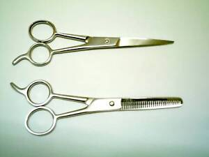 2-Normal-Quality-BARBER-HAIR-CUTTING-SCISSORS-and-THINNING-5-STAINLESS-STEEL