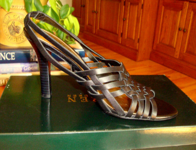 RALPH LAUREN Pabla Brown Leather Strappy, Slingbacks, Heels 7M  NIB $98