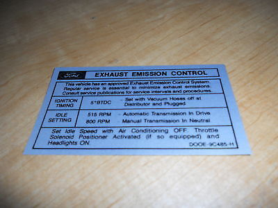 1970 Ford Bronco 302 V8 Eng Emissions Decal Sticker Mid