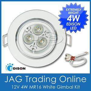 AQUATRACK KIT 12V 4W EDISON LED MR16 WHITE DOWN LIGHT- GIMBAL WHITE HOUSING