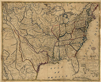 1818 MAP of Eastern United States, America History, antique, vintage, 16