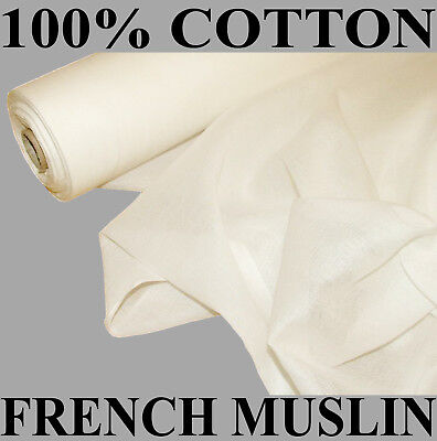 10 Metres Of French White Cotton Muslin Voile Fabric Curtain Designer Fabric