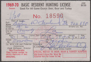 Rw27 29 w louisiana hunting license 3 diff yr bl9404 ebay for Fishing license in louisiana