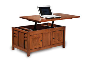 Amish Mission Lift Top Storage Coffee Table Computer Occasional Solid Wood