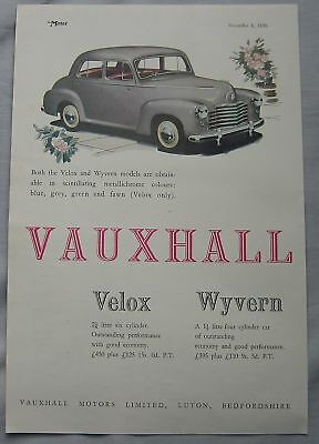 1950 Vauxhall Velox & Wyvern Original advert No.1