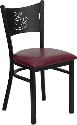 Metal Restaurant Coffee Design Café Chair with Burgundy Vinyl Seat