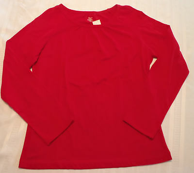 Adonna Size Medium Red Pajama Cotton Long Sleeve Top Shirt