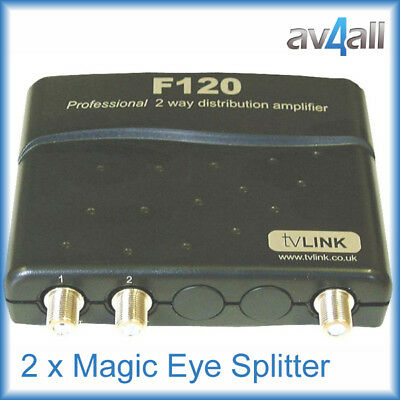 Global F120 2 way Sky Magic Eye Freeview Splitter Ftype Screw on connector