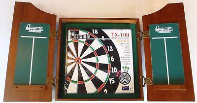 Dart Board Set Solid Wood Walnut Dart Board Cabinet & Tx100 Dart Board 6x Darts