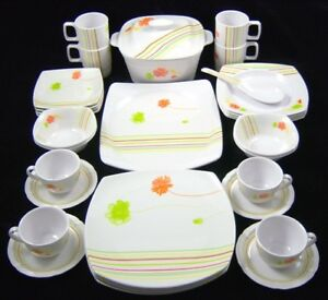 Candy Stripe 32 PCE Melamine Dinner Service Set Plates
