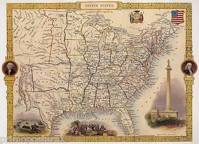 1800S Map United States Washington Landmark Buffalo Indians Repro Poster