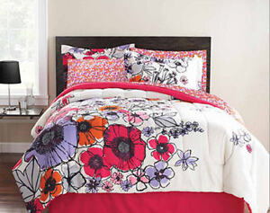 Purple-Pink-Flowers-Teen-Girls-FULL-Comforter-Set-8PC-Bed-In-A-Bag-NEW