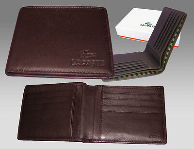 Authentic Lacoste Leather Wallet City Classic 8 Brown Large Billfold