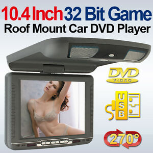 Headphone 10 Inch LCD Overhead Roof Mount Car DVD Player Radio Wireless Games