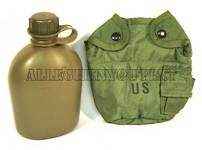 NEW US Military 1 QUART QT HARD PLASTIC CANTEEN w/ VGC 1QT OD COVER POUCH USGI