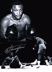 Joe Frazier HAND SIGNED Autograph Vs. Muhammad Ali Boxing 16x12 Photo AFTAL COA