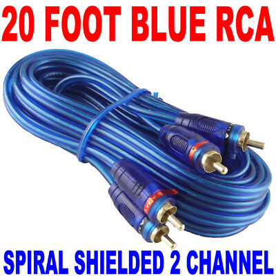 ★NEW SAMURAI AUDIO 20 FT 2 CH BLUE TWISTED CAR AMP RCA CABLES INTERCONNECT 20FT on Rummage