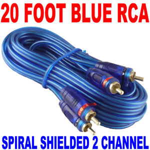 ★NEW SAMURAI AUDIO 20 FT 2 CH BLUE TWISTED CAR AMP RCA CABLES INTERCONNECT 20FT