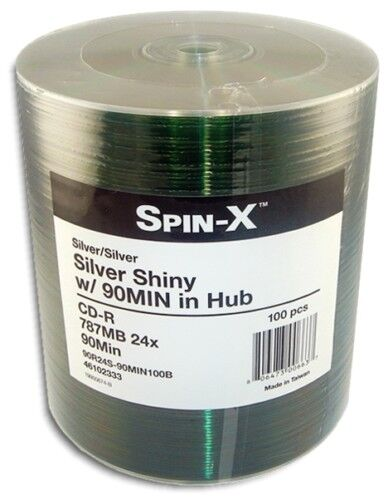 100-pak =90-minute= 800mb 24x Shiny-silver Top Cd-r's By ...