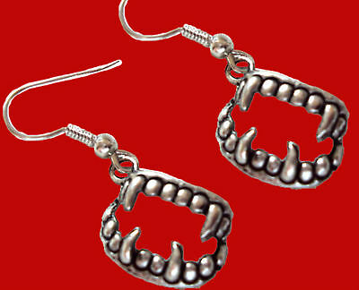 New-vampire Teeth Fang Banger Earrings-true Gothic Diaries Blood Costume Jewelry