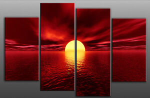 LARGE RED CANVAS WALL PICTURE SEA SUNSET BEACH 100cm