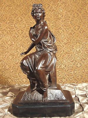 Rare Bronze Metal Statue Sculpture Classical Female Woman Formal Roman Greek ART