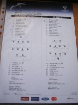 04/11/2003 Colour Teamsheet: Manchester United v Ranger