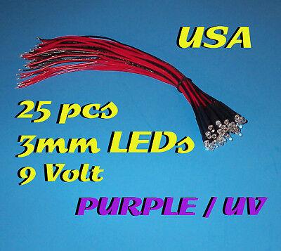 25 Pre Wired Purple / Uv Led Lights 3mm 9 Volt 9v Leds
