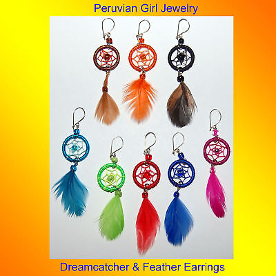 30 Feather Dreamcatcher Earrings Thread Jewelry Peru