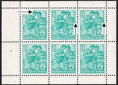 DDR H-Blatt 8 A PF XXV + XXVI (5-Jahr-Plan), Richter-PF auf Feld 1 bis 3