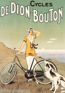 BICYCLE-CYCLES-DE-DION-BOUTON-WOMAN-DOG-OCEAN-VIEW-FRENCH-VINTAGE-POSTER-REPRO
