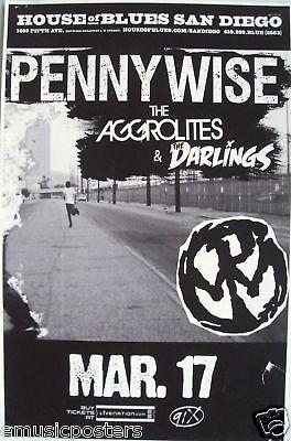 PENNYWISE / AGGROLITES 2010 SAN DIEGO CONCERT TOUR POSTER -SKATE PUNK ROCK MUSIC