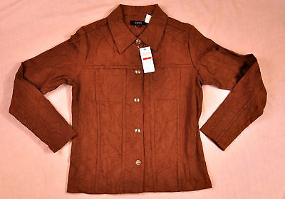 Womens Kaktus Light Jacket Size Small Brown Embossed Button Front Brand
