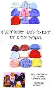 GREAT BABY HATS TO KNIT - 8 ply (18 Designs for Premature to 18 Months) BK01