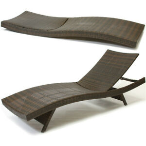 Outdoor Patio Furniture Pool Adjustable Wicker Chaise Lounge Chair EBay