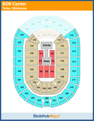 Wwe 2 tickets 10 02 12 tulsa bok center floor 6 row d for 02 floor seating