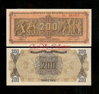 GREECE 200 Million Drachmai 1944 Crisp Banknote UNC . RARE