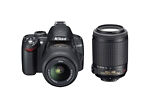 Nikon COOLPIX D3000 10.2 MP Digital SLR Camera - Black (Kit w/ 18-55mm and 55-200mm VRes Lenses)