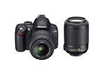 Nikon COOLPIX D3000 10.2 MP Digital SLR Camera - Black (Kit w/ 18-55mm and 55-200mm VRes Lenses)
