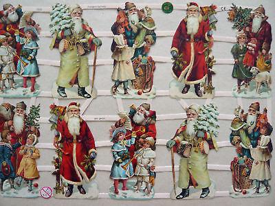 Glanzbilder Oblaten ef 7313 Weihnachten Santa Kinder Nikolaus Tannebaum
