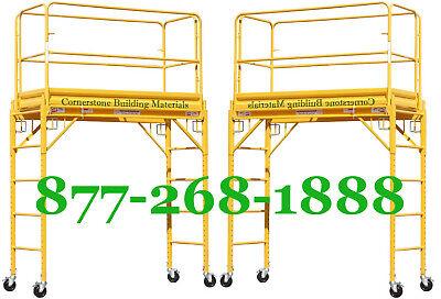 2 Mfs 6 Deck High Scaffold Rolling Towers With Guard Rails Double U Locks Cbm